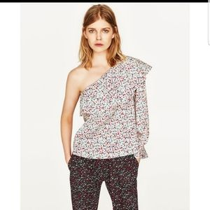 ZARA/White Floral One Shoulder Blouse